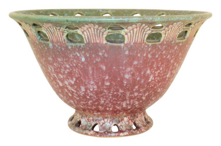 Roseville Pottery Ferella Red Bowl 211-8