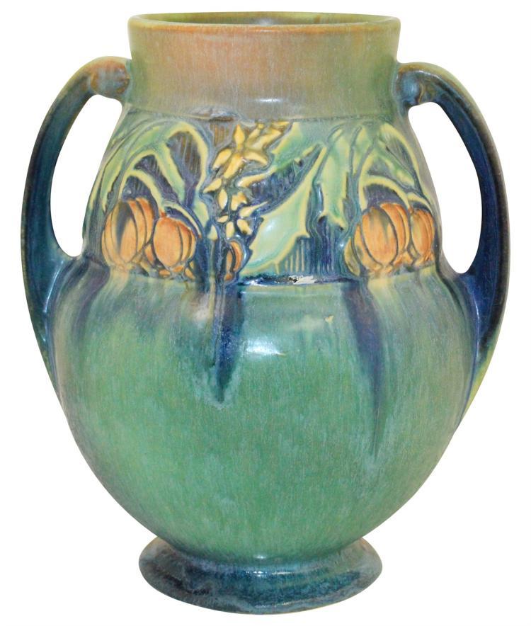 Roseville Pottery Baneda Green Vase 596-9