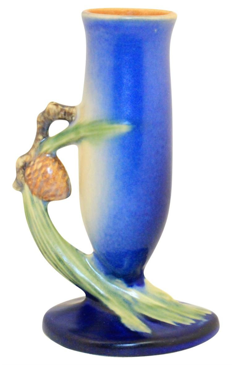 Roseville Pottery Pine Cone Blue Bud Vase 112-7