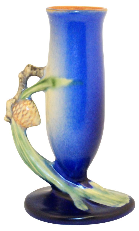 Roseville Pottery Pine Cone Blue Vase 112-7