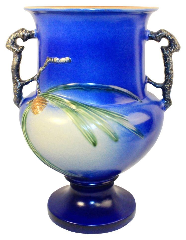 Roseville Pottery Pine Cone Blue Floor Vase 912-15
