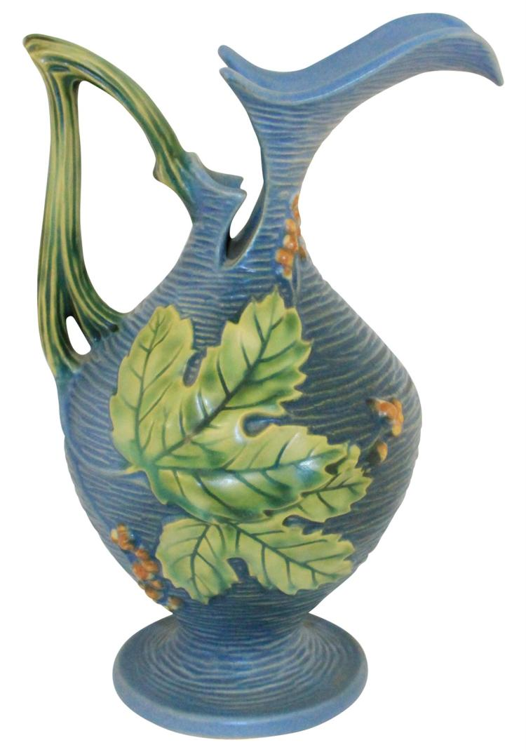 Roseville Pottery Bushberry Blue Ewer 2-10
