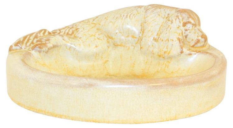 Frankoma Pottery 1940s Sleeping Cocker Desert Gold Ash Tray N0. 460