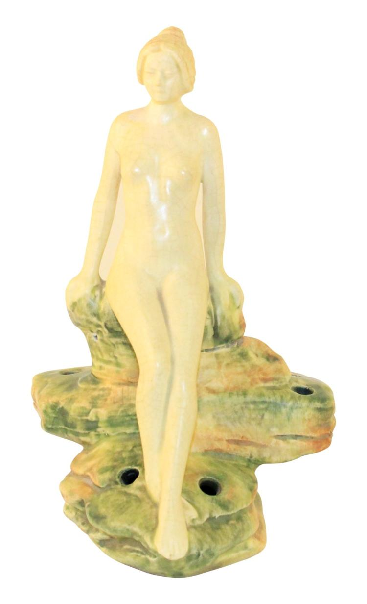 Weller Pottery Muskota Nude On A Rock Flower Frog