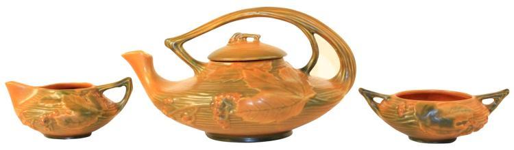 Roseville Pottery Bushberry Russet Tea Set 2