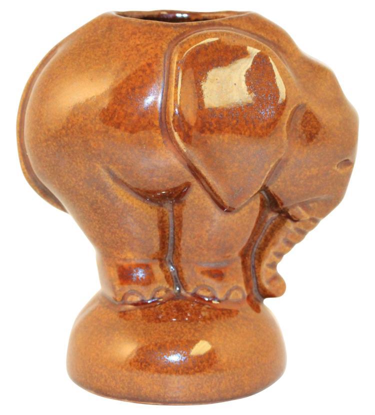 Frankoma Pottery 1942 Osage Brown Elephant Flower Holder No. 180