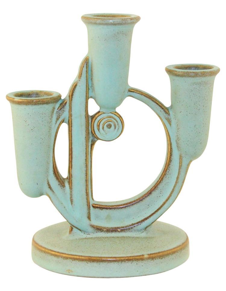 Roseville Pottery Moderne Green Triple Candle Holder 1112
