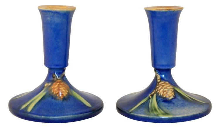 Roseville Pottery Pine Cone Blue Candle Holders 1099-4