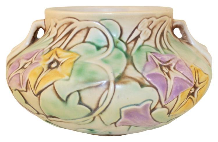 Roseville Pottery Morning Glory White Bowl 268-4