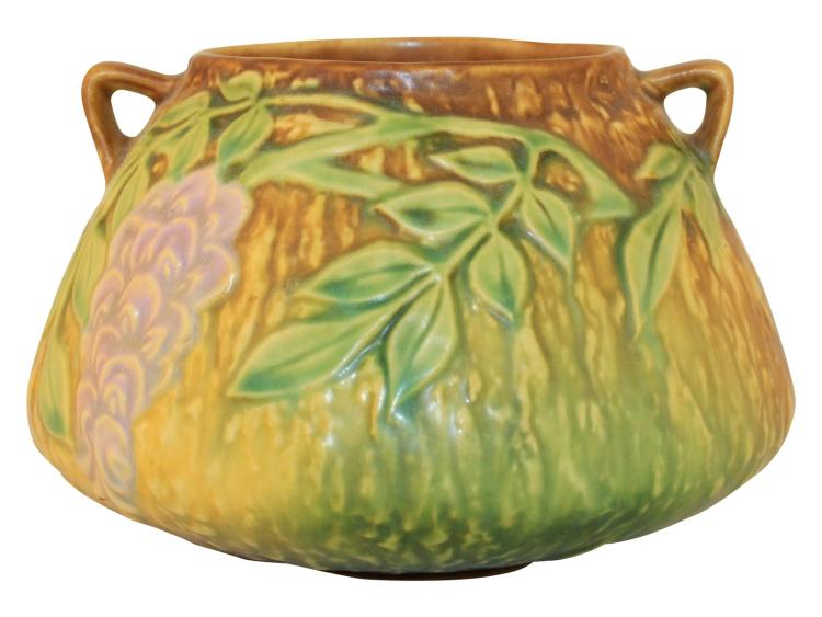 Roseville Pottery Wisteria Brown Vase 242-4