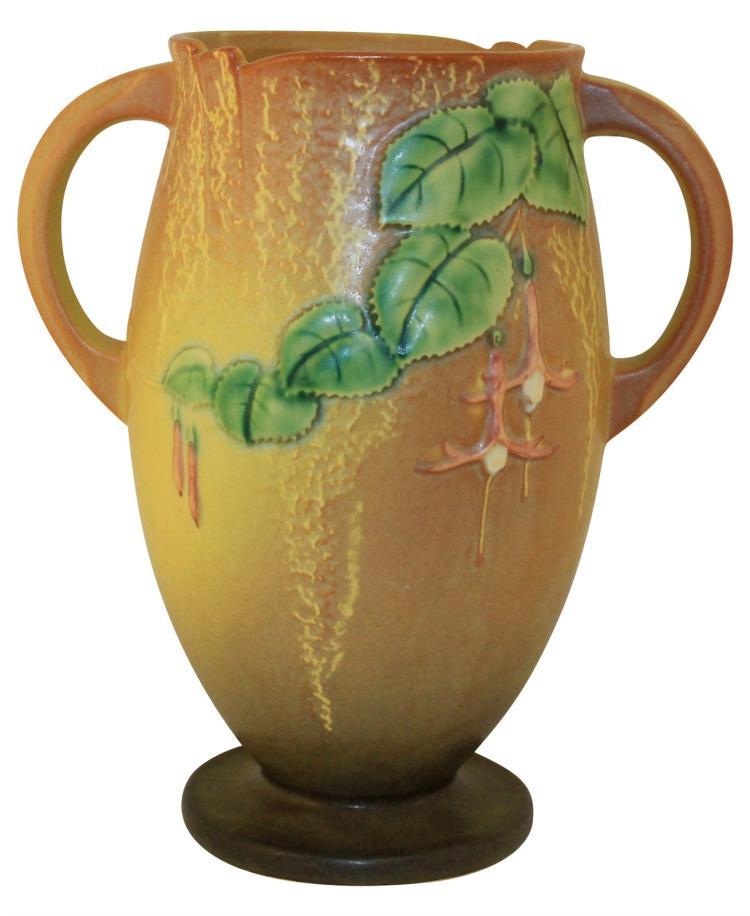 Roseville Pottery Fuchsia Brown Vase 901-10