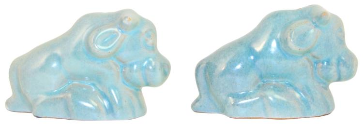 Frankoma Pottery 1942 Bull Peacock Blue Salt And Pepper Shakers No. 166H