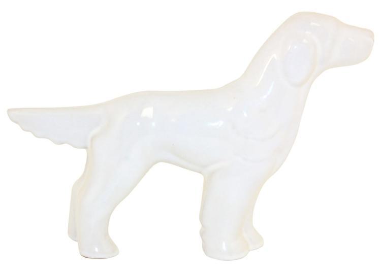 Frankoma Pottery 1940s Tall English Setter White Sand Figurine No. 141