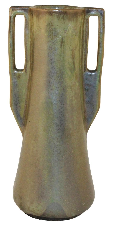 Fulper Pottery Crystalline Green Handled Vase Shape 27