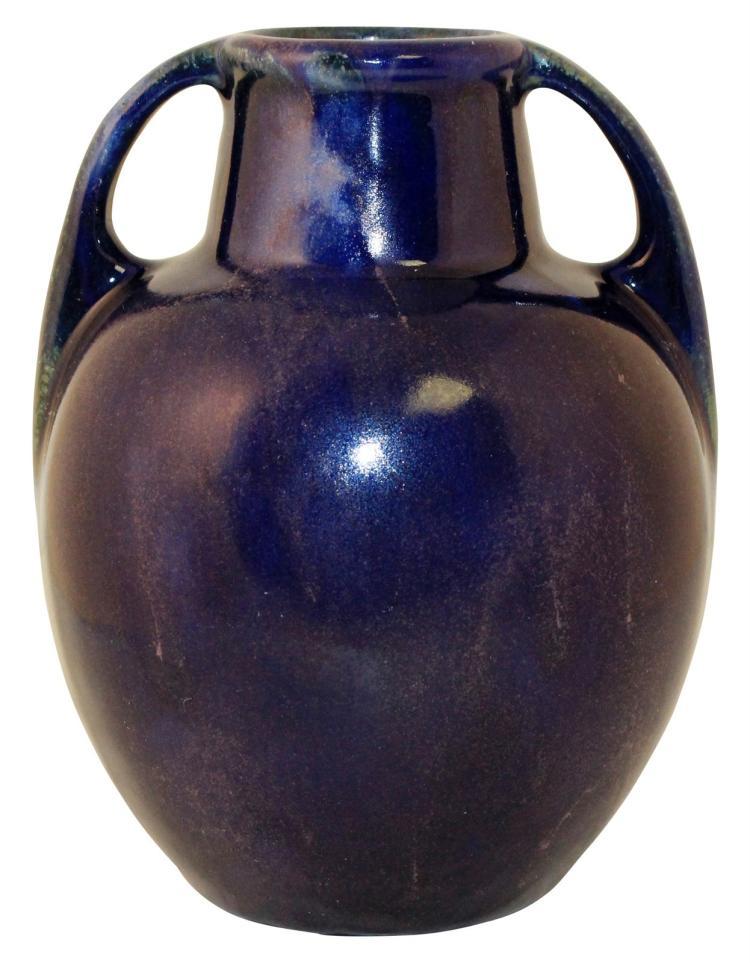 Fulper Pottery Crystalline Purplish Blue Shouldered And Handled Vase Shape 643