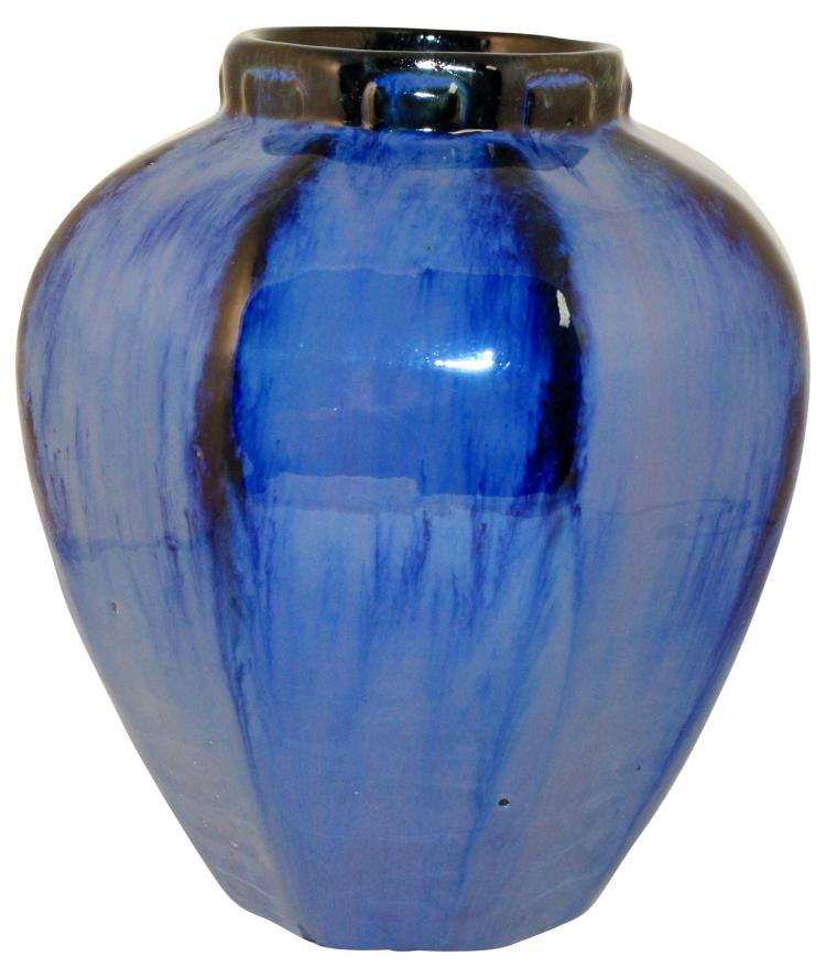 Fulper Pottery Octagon Shaped Chinese Blue High Glaze Vase