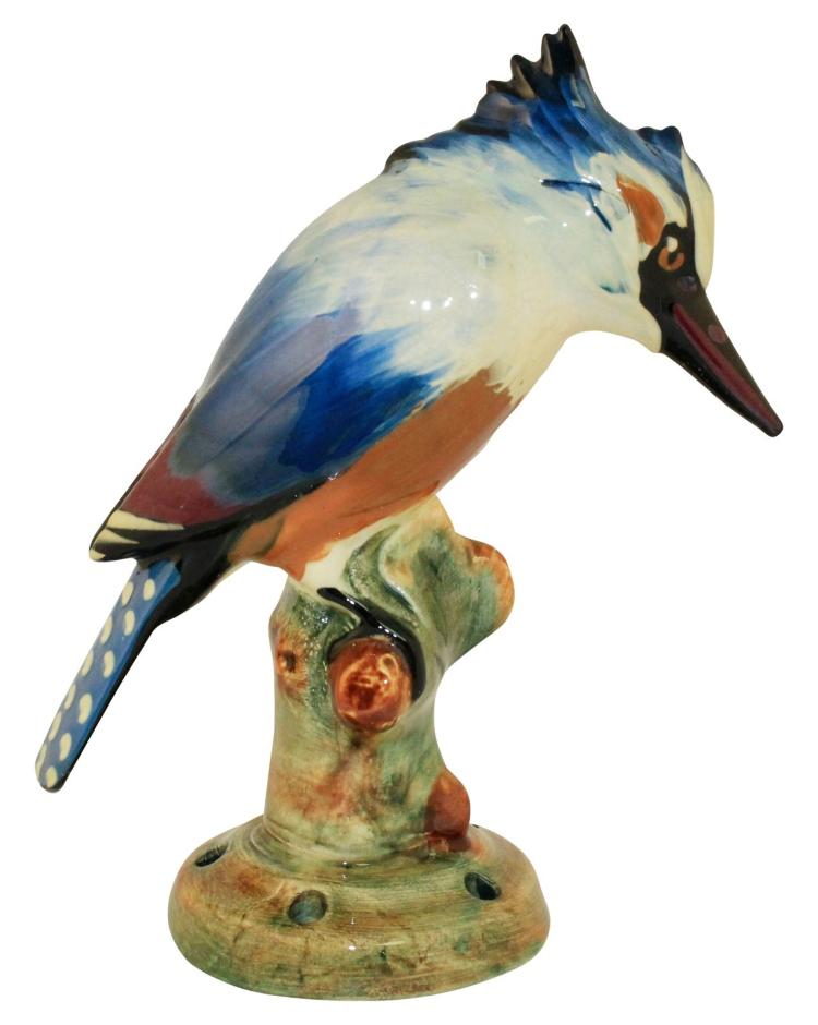 Weller Pottery Brighton Kingfisher Flower Frog