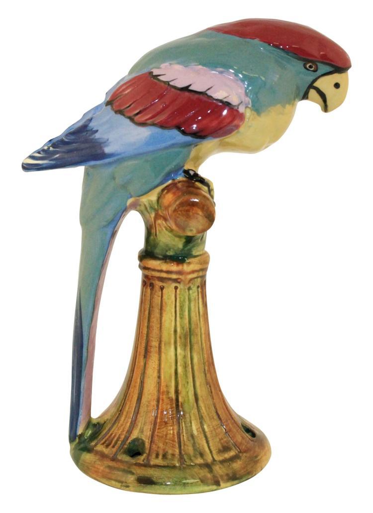 Weller Pottery Brighton Parrot Flower Frog