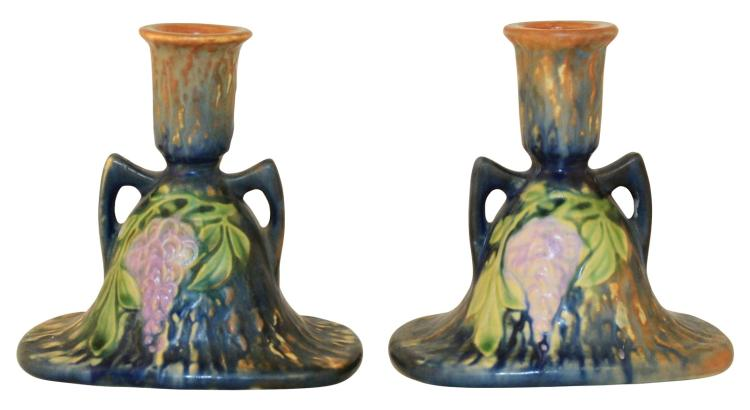 Roseville Pottery Wisteria Blue Candle Holders 1091-4