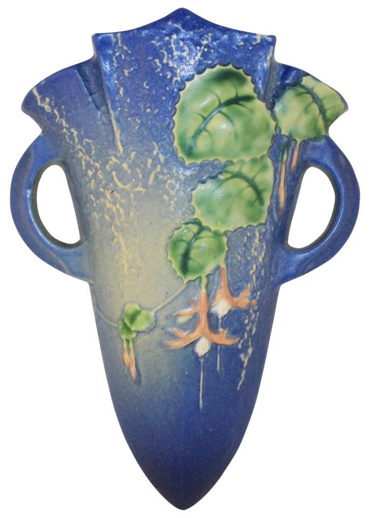 Roseville Pottery Fuchsia Blue Wall Pocket 1282-8
