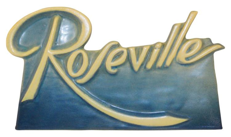 Roseville Pottery Script Blue Dealer Sign