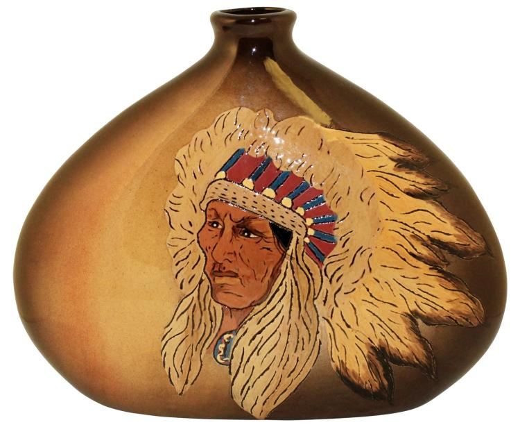 Fra Mae Pottery 1981 Native American Pillow Vase (Artist Signed)