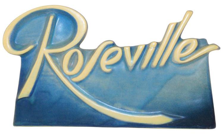 Roseville Pottery Script Blue Dealer Sign
