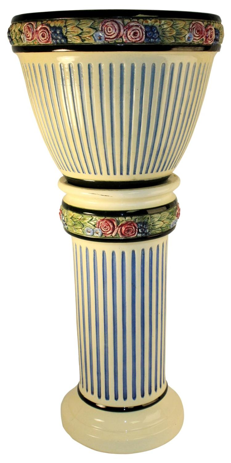 Weller Pottery Zona Jardiniere And Pedestal
