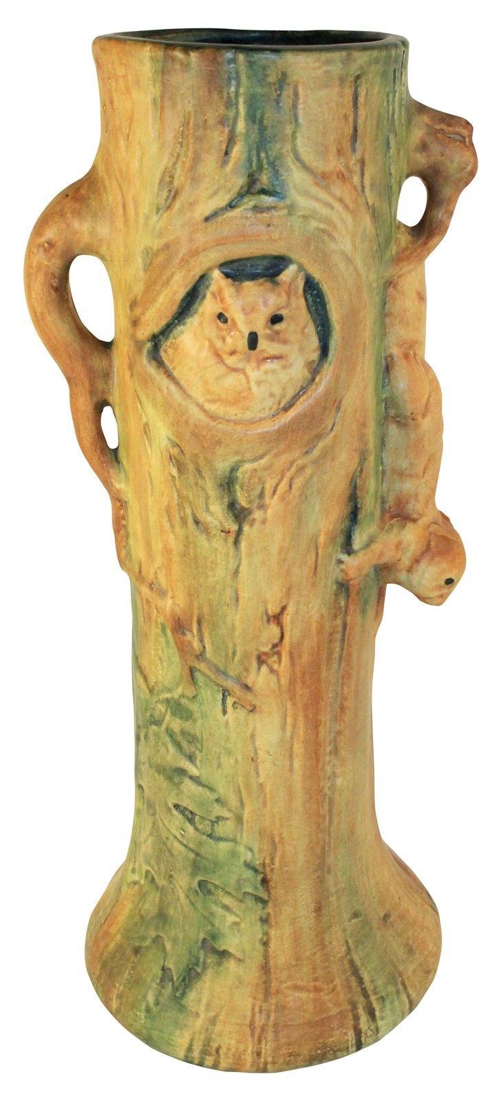 Weller Pottery Woodcraft Squirrel And Owl Tree Vase