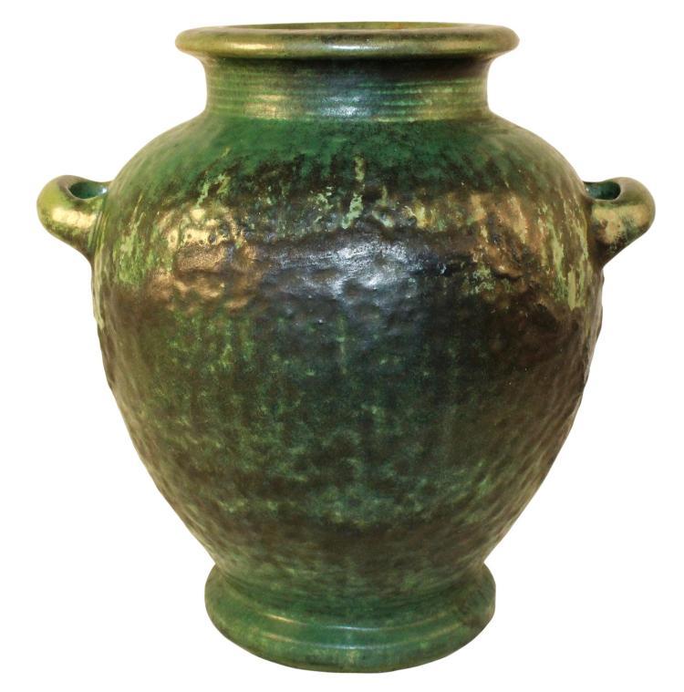 Fulper Pottery Crystalline Mottled Green Handled Urn Lamp Base Shape 490