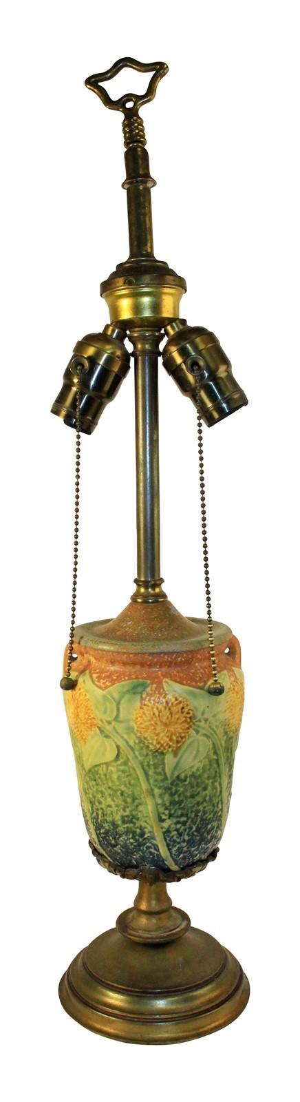 Roseville Pottery Sunflower Handled Vase Lamp