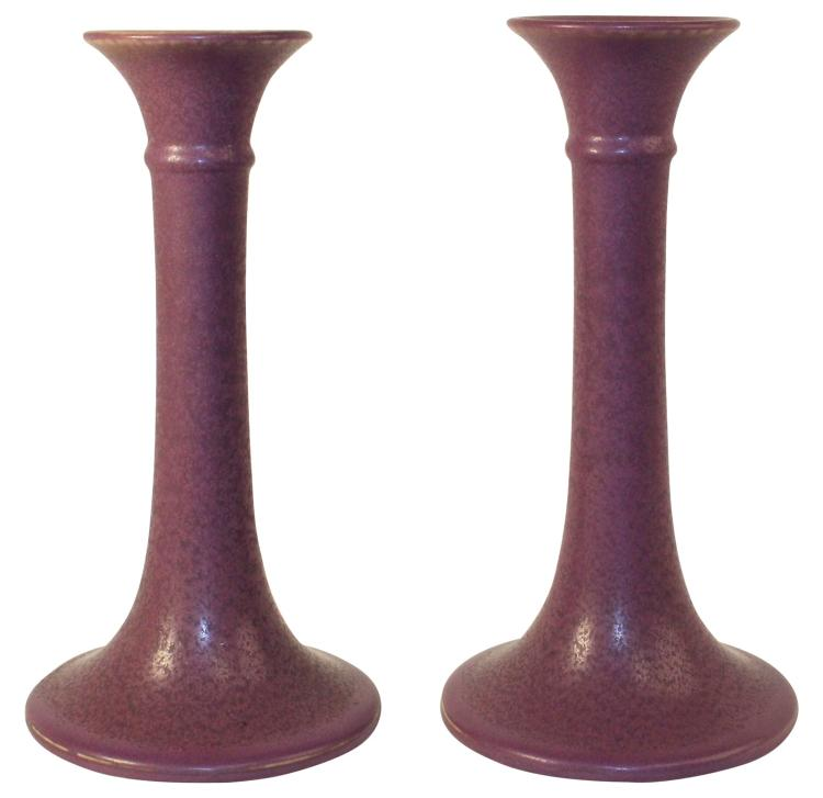 Rookwood Pottery 1922 Tall Purple Candle Holders 2598