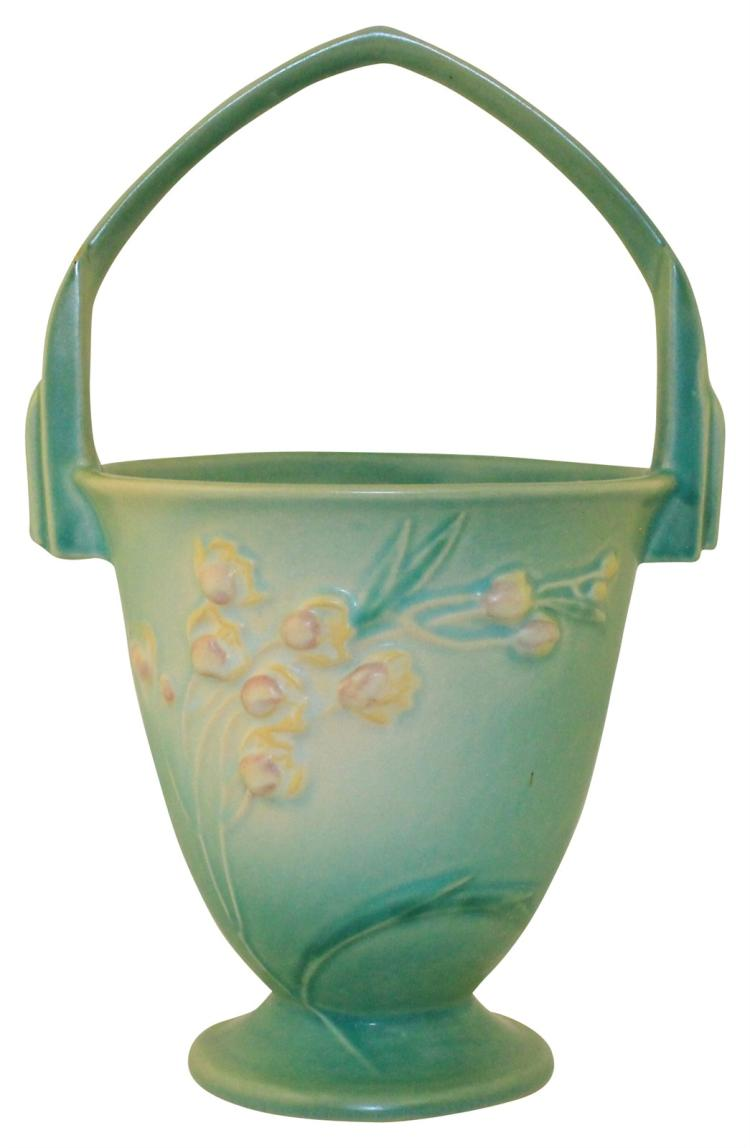Roseville Pottery Ixia Green Basket 346-10