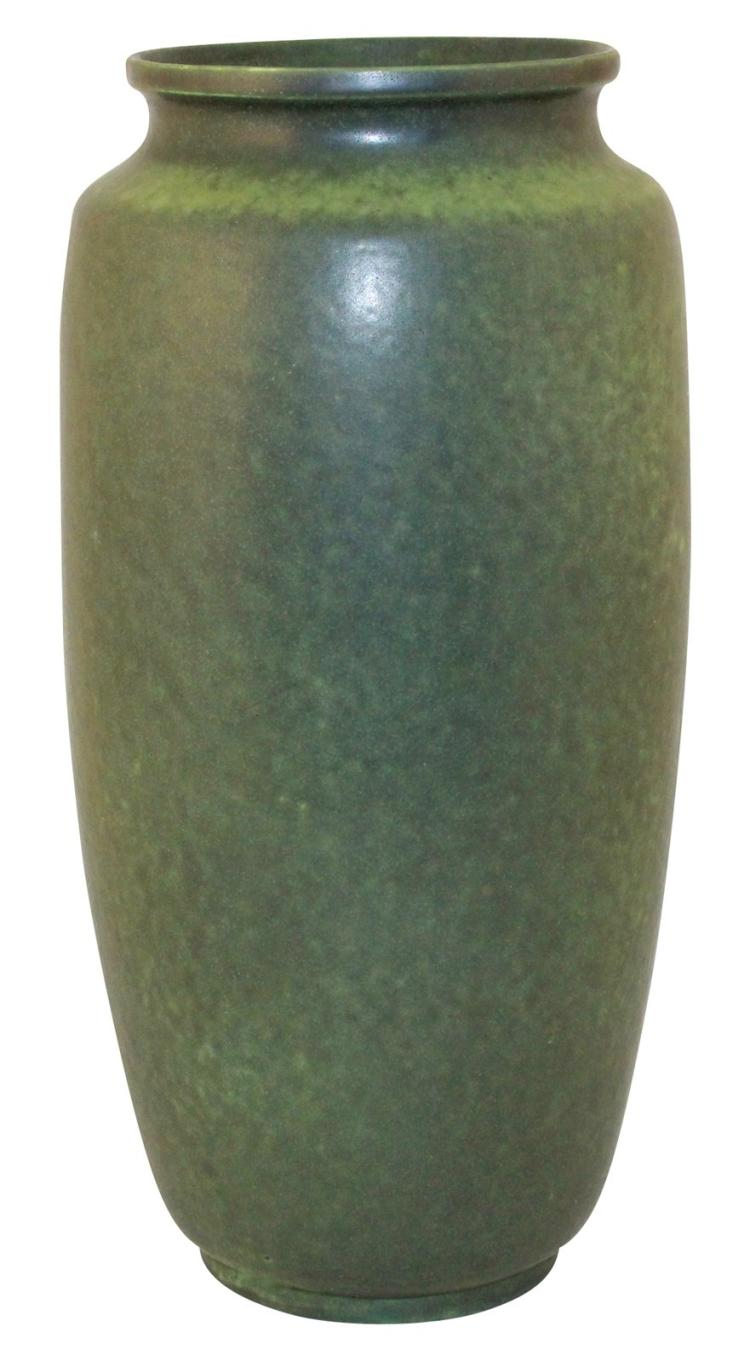 Teco Pottery Charcoaled Green Arts and Crafts Vase