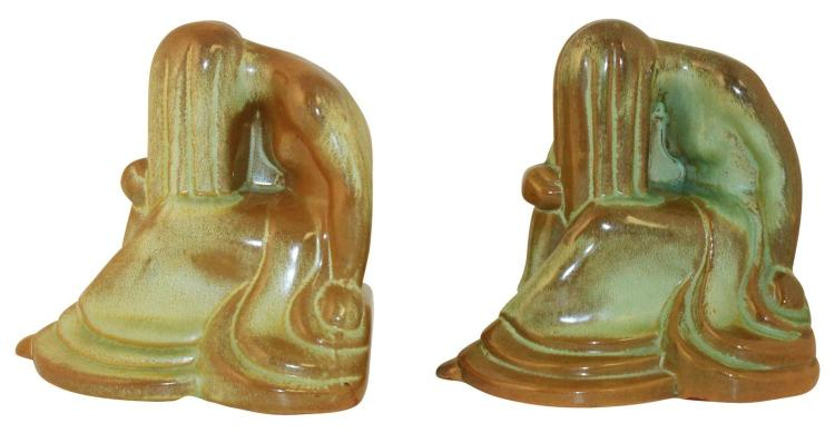 Frankoma Pottery Early Weeping Lady Prairie Green Bookends No. 427