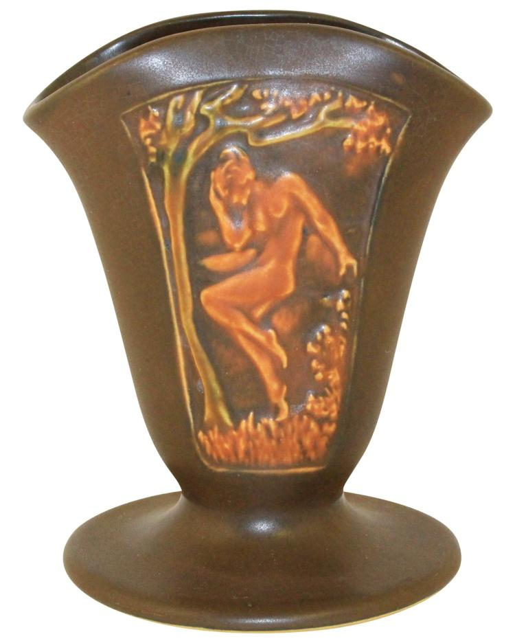 Roseville Pottery Rosecraft Panel Brown Nude Fan Vase