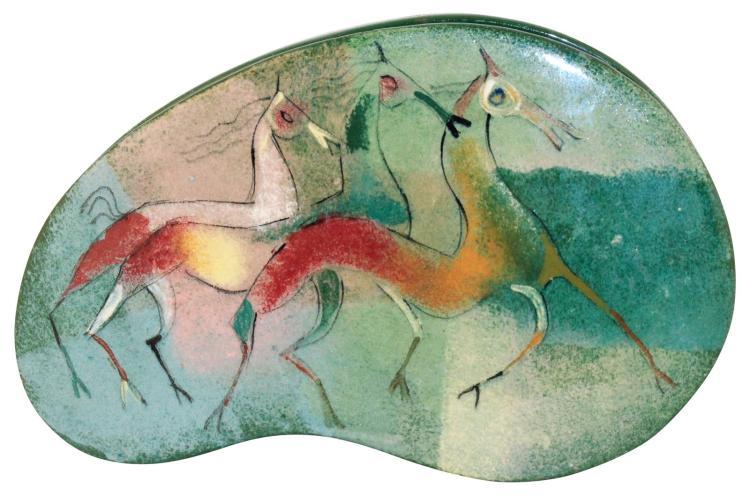 Pillin Pottery Three Horse Covered Box