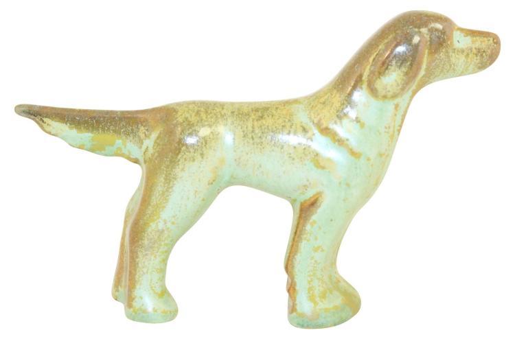 Frankoma Pottery 1940s English Setter Dog Prairie Green Figurine No. 163