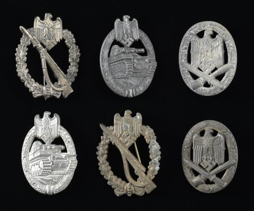 6 WWII GERMAN ARMY BADGES.