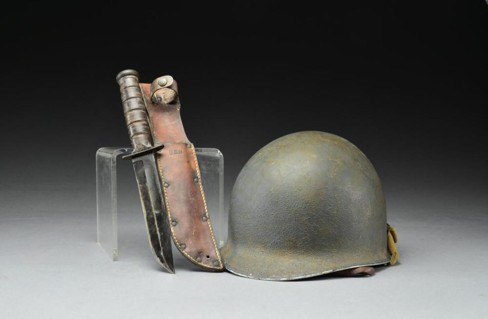 EARLY WWII M-1 HELMET & U.S.N. MARK 2 KNIFE.