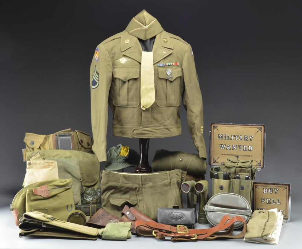 2 GROUPINGS OF MOSTLY WWII MILITARY UNIFORMS &