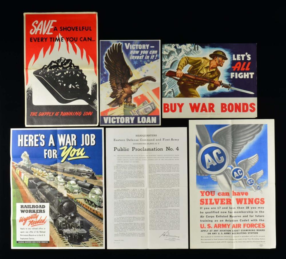 GROUP OF 7 WWII AMERICAN PATRIOTIC WAR EFFORT