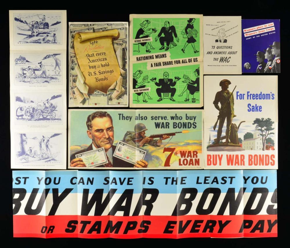 GROUP OF 12 WWII AMERICAN PATRIOTIC WAR EFFORT