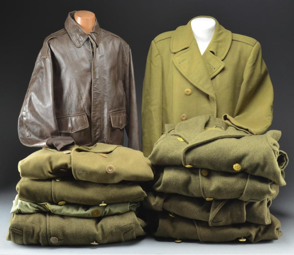 WWII ARMY OVERCOATS & AN ARMY A-2 FLIGHT JACKET.
