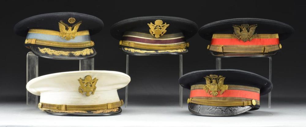 5 PRE WWII US OFFICERS FULL DRESS VISOR CAPS.