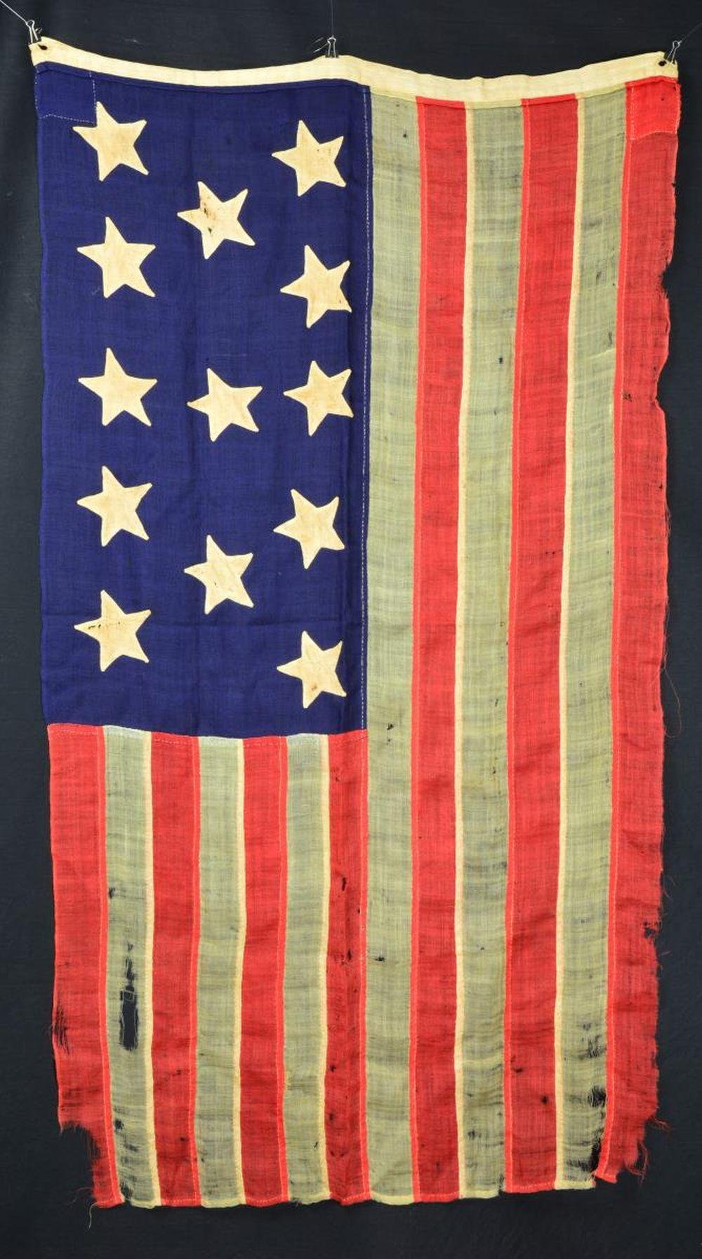 RARE 19TH CENTURY 13 STAR AMERICAN FLAG WITH