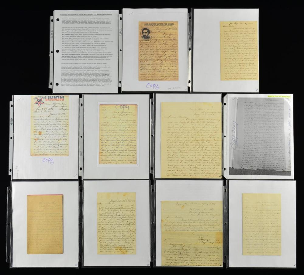 UNION LETTERS FROM THE 72ND PENNSYLVANIA INFANTRY