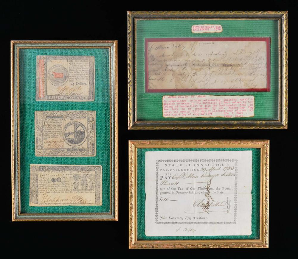 3 EXAMPLES OF COLONIAL PAPER MONEY, 1