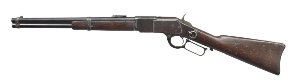 WINCHESTER 1873 TRAPPER STYLE LEVER ACTION RIFLE.