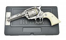 RUGER ENGRAVED STAINLESS VAQUERO REVOLVER.